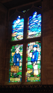 Stained glass window in All Saints' Church in Sudbury commemorating evacuated children from Manchester to Derbyshire.