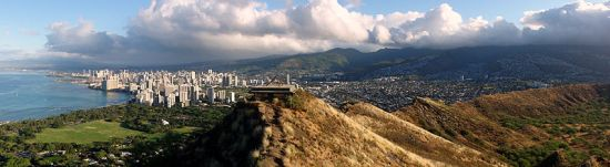 Honolulu's Diamond Head crater overlooking Waikiki Beach Courtesy Wikimedia Commons Creative attribution 3.0